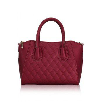 Stylish Solid Color and Checked Design Women's Tote Bag -  RED