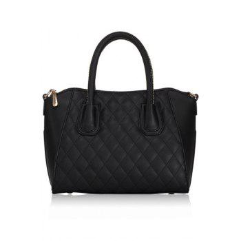 Stylish Solid Color and Checked Design Women's Tote Bag - BLACK BLACK