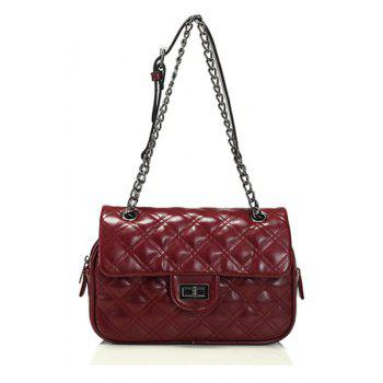 Trendy Checked and Chain Design Women's Shoulder Bag