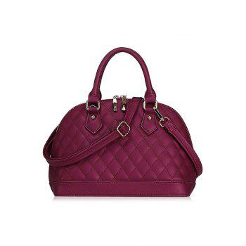 Elegant PU Leather and Checked Design Women's Tote Bag - WINE RED WINE RED