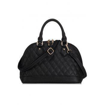 Elegant PU Leather and Checked Design Women's Tote Bag - BLACK BLACK