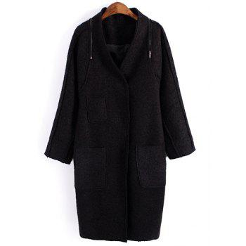 Elegant V-Neck Candy Color Zippers Embellished Long Sleeve Woolen Coat For Women