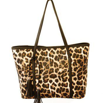 Gorgeous Leopard Print and Tassels Design Shoulder Bag For Women
