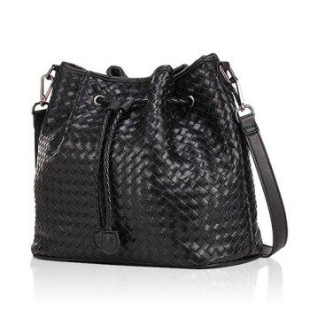 Fashionable Black and Weaving Design Shoulder Bag For Women - BLACK