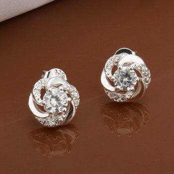 Pair Of Women's Stylish Rhinestone Delicate Hollow Out Earrings