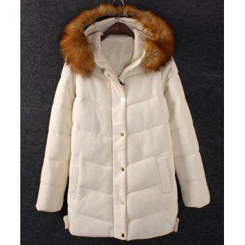 Solid Color Faux Fur Casual Style Hooded Long Sleeve Coat For Women