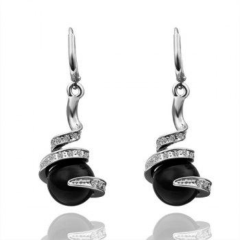 Pair Of Women's Classic Platinum Black Pearl Earrings