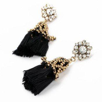 Pair of Gorgeous Black Tassel Embellished Women's Earrings - AS THE PICTURE