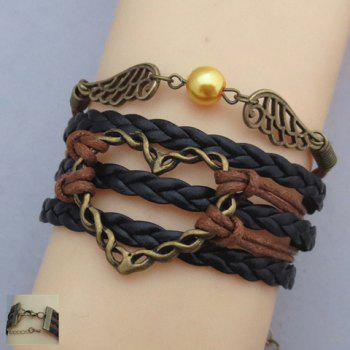 Braided Faux Pearl Wings Chain Design Friendship Bracelet