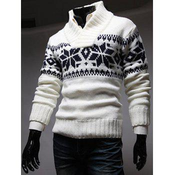 Fashion Christmas Snowflake Jacquard Stand Collar Long Sleeve Slimming Men's Polyester Sweater