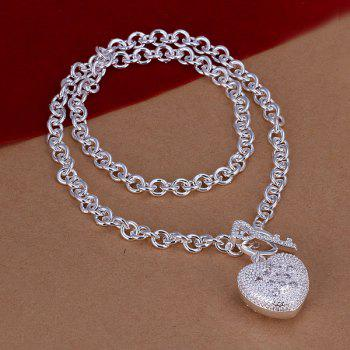 Love Heart Silver Plated Necklace -  18INCHS