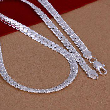 5mm Stylish Men's  Silver Plated Snake Chain Necklace -  20INCHS*5MM