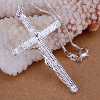 Jesus Cross Silver Plated Pendant without Chain -