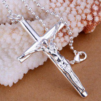 Jesus Cross Silver Plated Pendant without Chain -  6.9*3.6CM