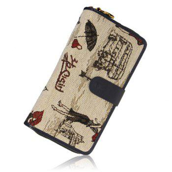 Retro Zipper and Drawing Design Wallet For Women