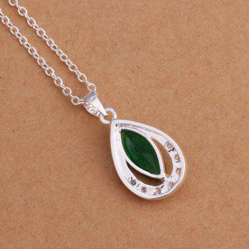Stylish Silver Plated Artificial Emerald Pendant -