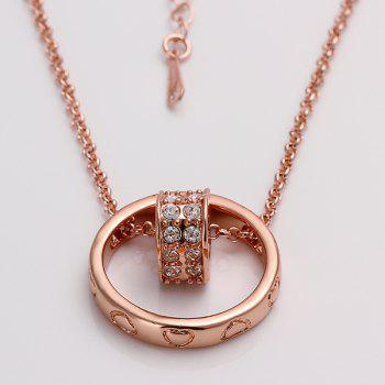 Stylish Style Rhinestoned Heart Rose Gold Plated Necklace -