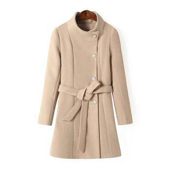 Brief Solid Color Stand Collar Single-Breasted Long Sleeve Coat with Belt For Women