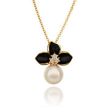 Fashion Rhinestoned Black Floral Pearl Gold Plating Necklace