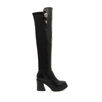 Stylish Black and Metallic Design Women's Thigh Boots
