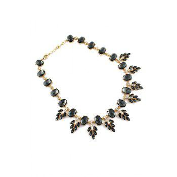 Faux Gemstone Special Shape Necklace - BLACK