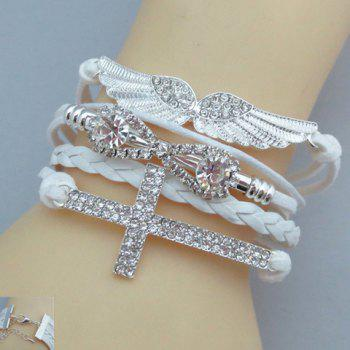 Wings Cross Eight Rhinestone Friendship Bracelet