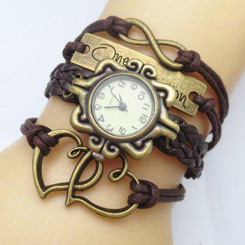 Retro Stylish Women's Openwork Heart Friendship Bracelet Watch