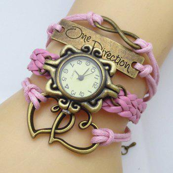 Retro Stylish Women's Openwork Heart Friendship Bracelet Watch - COLOR ASSORTED