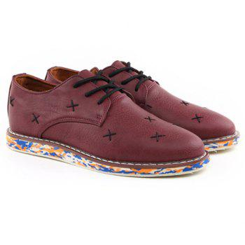Fashion PU Leather and Stitching Design Casual Shoes For Men - WINE RED 41