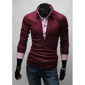 Stylish Turn-down Collar Slimming Color Block Faux Twinset Long Sleeves Men's Polo T-Shirt