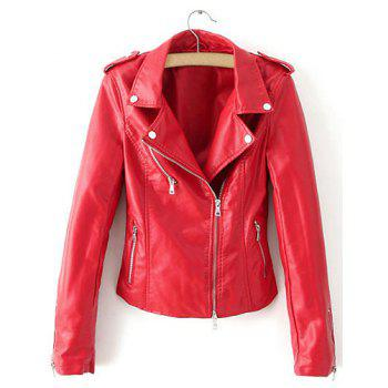 Modern Style Red Turn-Down Collar Long Sleeve PU Leather Jacket For Women