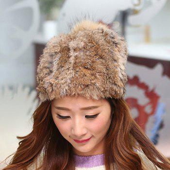 Stylish Fuzzy Ball Embellished Downy Hat For Women