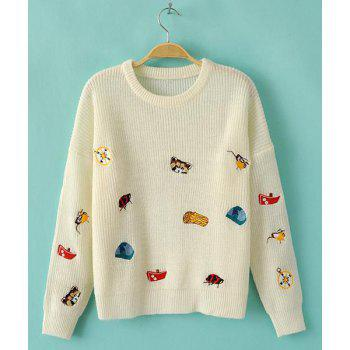 Cute Cartoon Embroidery Jewel Neck Long Sleeve Sweater For Women