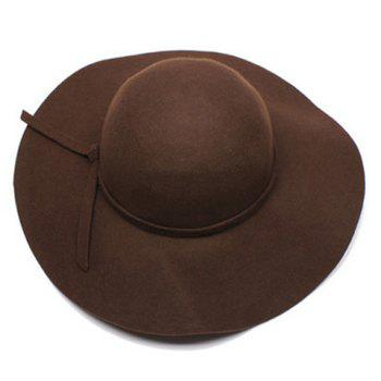 Chic Knot Decorated Solid Color Women's Felt Hat - COFFEE COFFEE