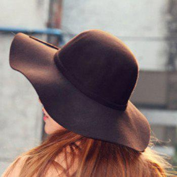 Chic Knot Decorated Solid Color Women's Felt Hat -  COFFEE