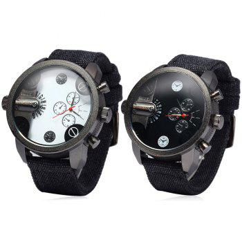 Shiweibao A3130 Double Time Men Quartz Watch Round Dial Canvas Watchband