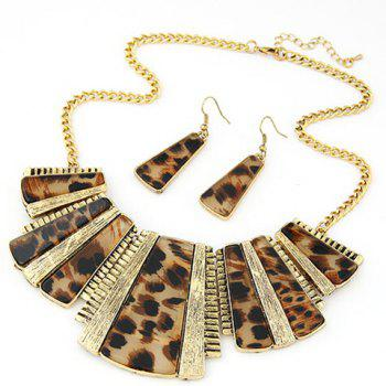 Leopard Print Geometric Necklace and Earrings