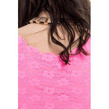 Lace Splicing Sleeveless Refreshing Style Lace Scoop Neck Women's Vest - ROSE ONE SIZE