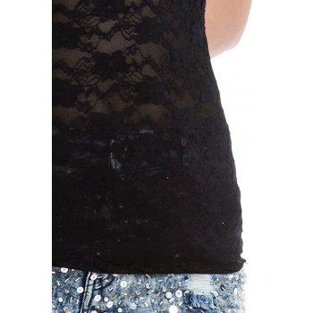 Lace Splicing Sleeveless Refreshing Style Lace Scoop Neck Women's Vest - BLACK ONE SIZE