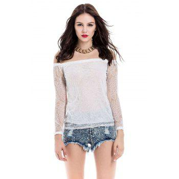 Lace Hollow Yarn Women's Blouse chiffon White Boat Neck T-shirt - WHITE L