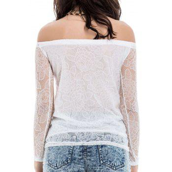 Lace Hollow Yarn Women's Blouse chiffon White Boat Neck T-shirt - L L