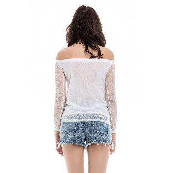 Lace Hollow Yarn Women's Blouse chiffon White Boat Neck T-shirt - WHITE WHITE
