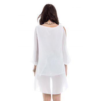 V-Neck Long Sleeve Chiffon Shift Dress - WHITE S