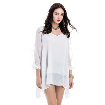 V-Neck Long Sleeve Chiffon Shift Dress - WHITE M