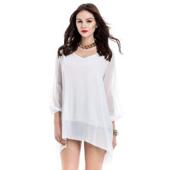 Elegant White V-Neck 3/4 Sleeve Loose-Fitting Chiffon Dress For Women