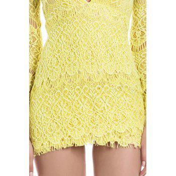 Attractive Plunging Neck Packet Buttock Long Sleeve Lace Dress For Women - YELLOW S