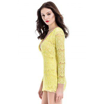 Attractive Plunging Neck Packet Buttock Long Sleeve Lace Dress For Women - S S