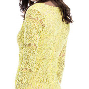 Attractive Plunging Neck Packet Buttock Long Sleeve Lace Dress For Women - YELLOW YELLOW