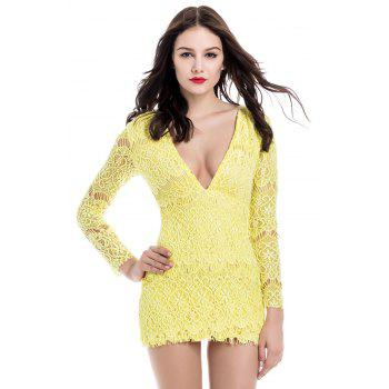 Attractive Plunging Neck Packet Buttock Long Sleeve Lace Dress For Women - YELLOW M