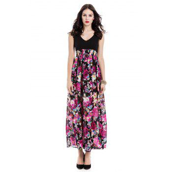 Bohemia Floral Printn Plunging Neckline Sleeveless Dress For Women